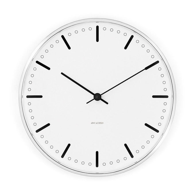 Arne Jacobsen City Hall Wall Clock 21cm, Black/White