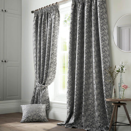 Ashley Wilde Bayford Grey Lined Pencil Pleat Curtains