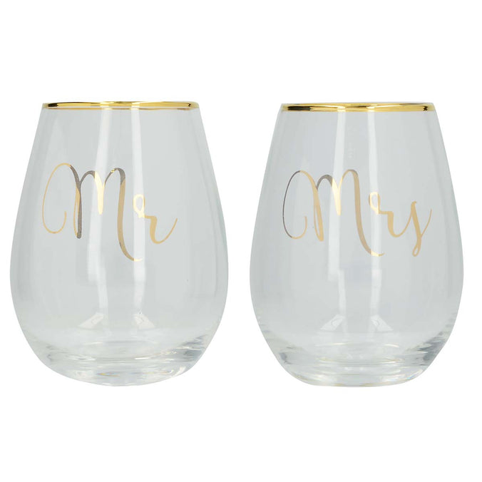 Ava & I Mr & Mrs Stemless Wine Glasses, Set of 2