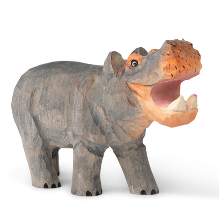 Ferm Living Hand-Carved Wooden Animal Toy, Hippo
