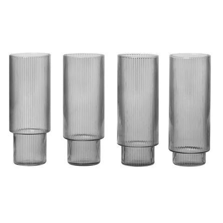 Ferm Living Ripple Long Drink Glass, Set of 4, Smoked Grey