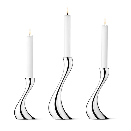 Georg Jensen Cobra Candleholder Set, Stainless Steel, Set of 3