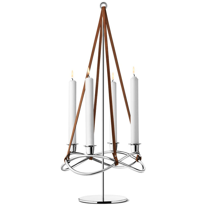 Georg Jensen Season Extension Candleholder Stainless Steel, Mirror & Brown Leather