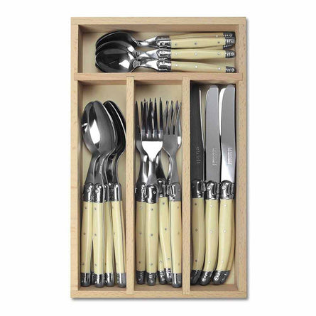 Laguiole 24 Piece Cutlery Set in Wooden Tray