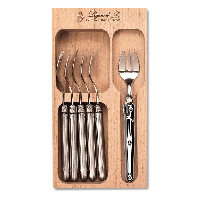 Laguiole Cake Fork Set 6 Pieces, Stainless Steel