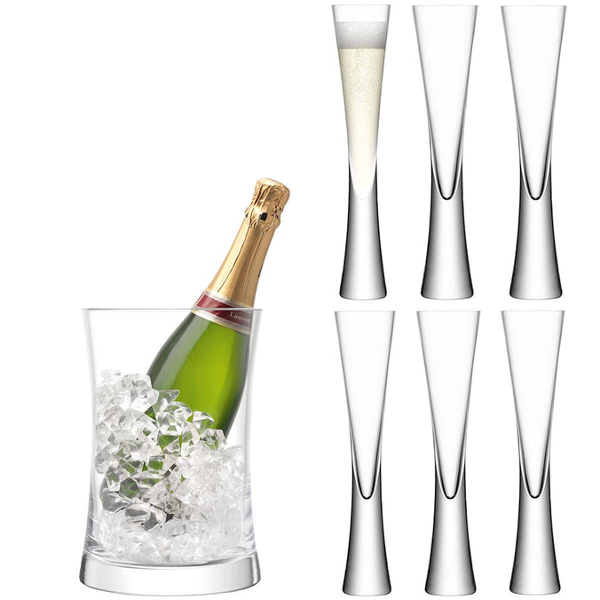 LSA Moya Serving Set - 6 Champagne Glasses & Ice Bucket