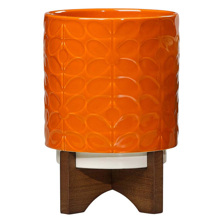 Orla Kiely Ceramic Plant Pot with Stand, Dark Papaya