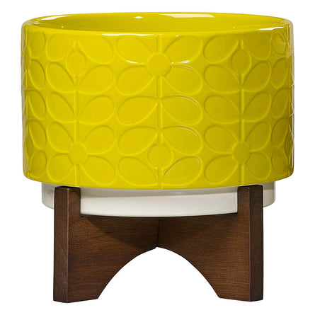 Orla Kiely Ceramic Plant Pot with Stand, Ochre