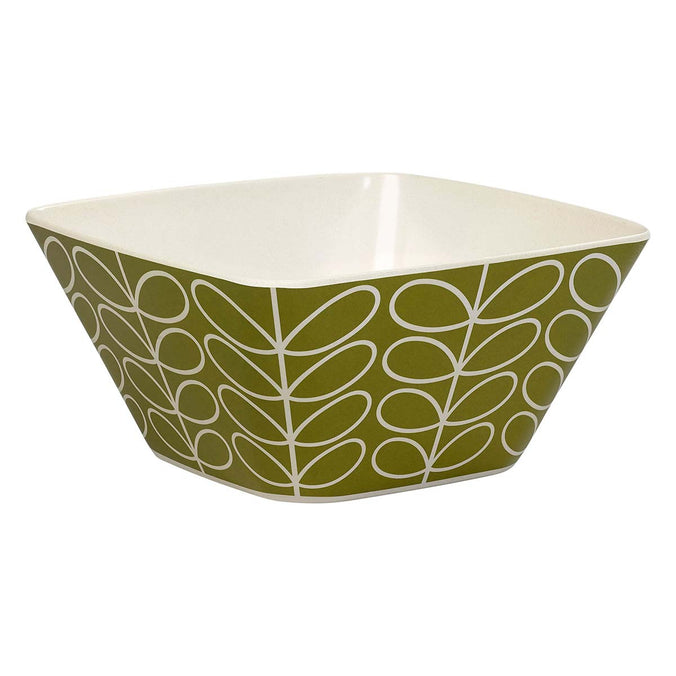 Orla Kiely Linear Stem Bamboo Salad Bowl, Green