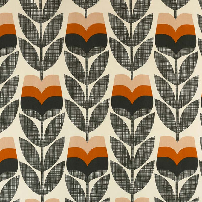Orla Kiely Rosebud Fabric, Orange