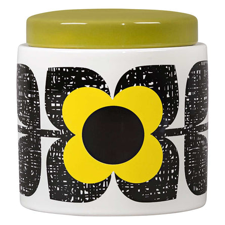 Orla Kiely Scribble Square Flower Large Storage Jar, Sunshine