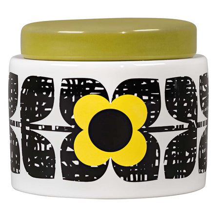 Orla Kiely Scribble Square Flower Small Storage Jar, Sunshine