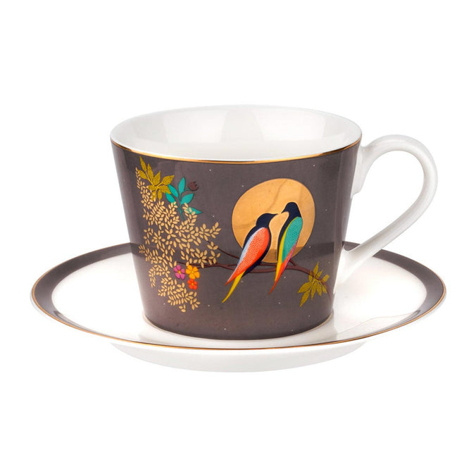 Sara Miller Chelsea Collection Bird in Moon Tea Cup & Saucer - Dark Grey 0.20L