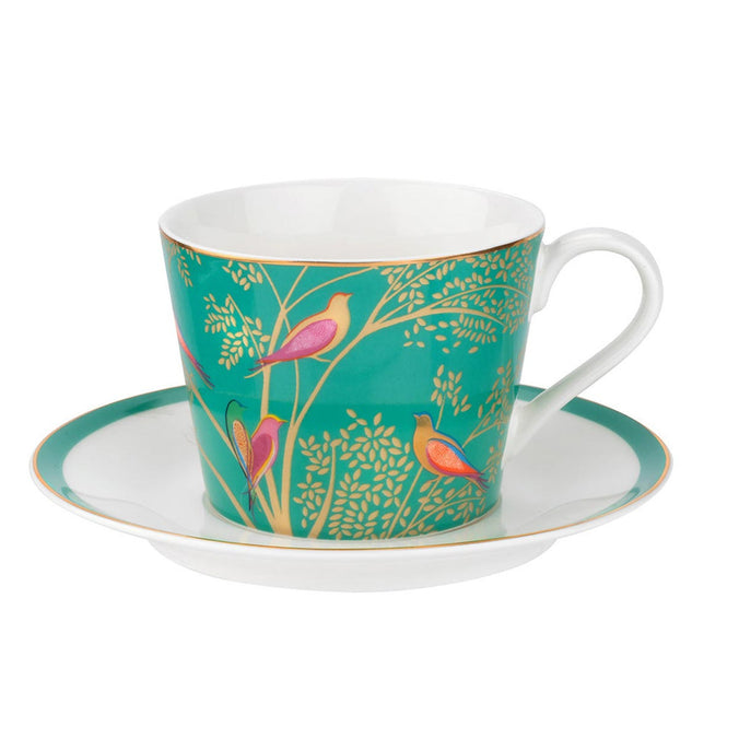 Sara Miller Chelsea Collection Green Birds Tea Cup & Saucer - Green 0.20L