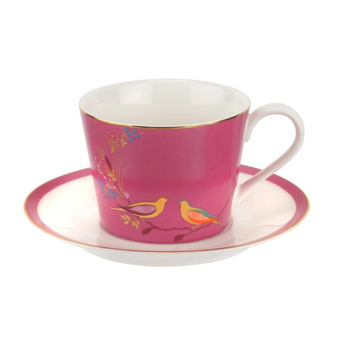 Sara Miller Chelsea Collection Pink Bird Tea Cup & Saucer - Pink 0.20L
