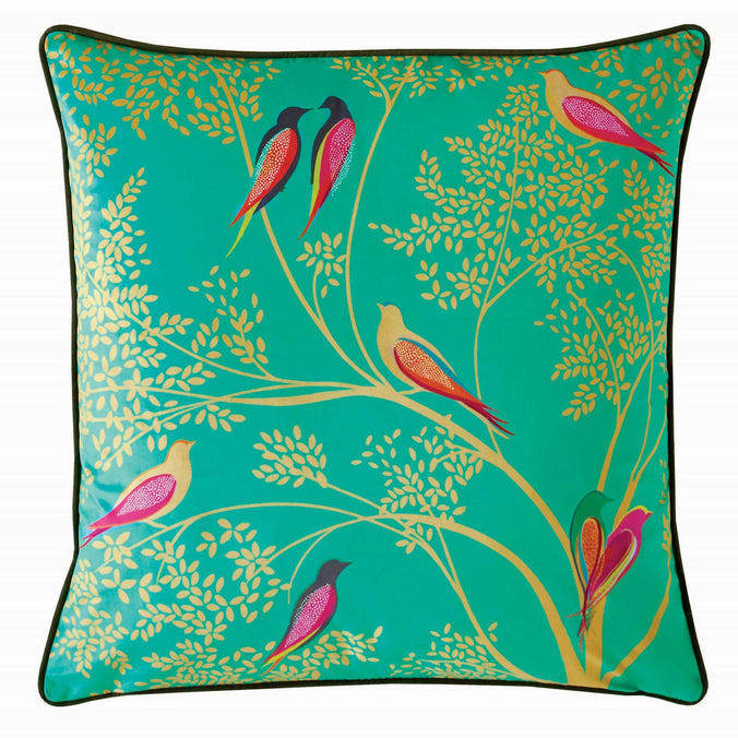 Sara Miller Green Birds Cushion, 50x50cm