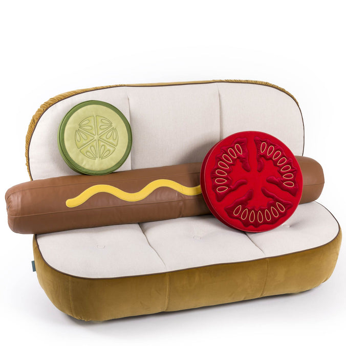 Seletti Hot Dog Sofa Complete with Gherkin & Tomato Padded Pillows 188 x h115cm