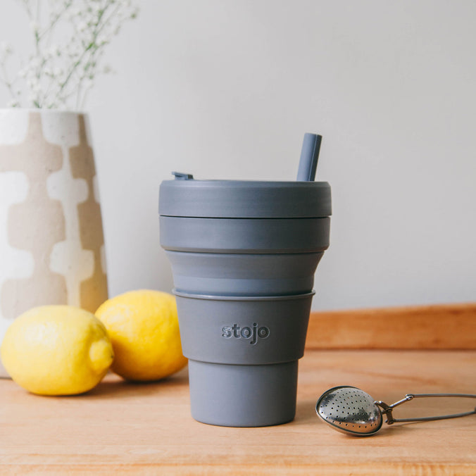 Stojo Collapsible Biggie Cup with Straw, 470ml