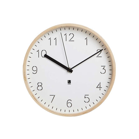 Umbra Rimwood Wall Clock, White / Natural - 28cm