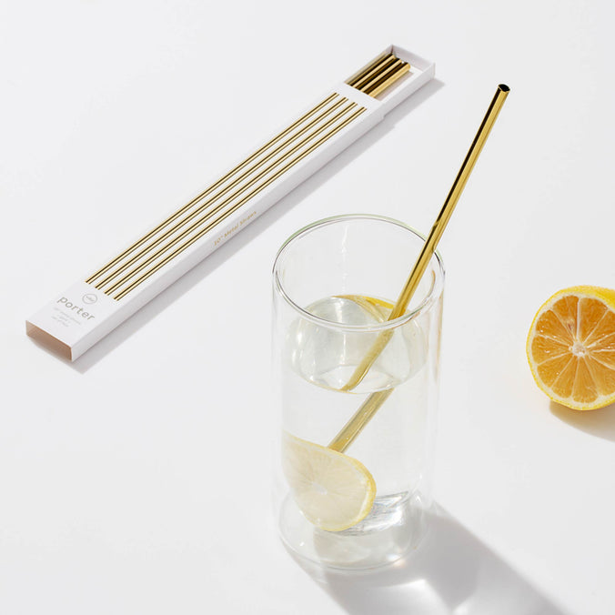 "w&p Porter 10"" Gold Metal Straws with Cleaner, Set of 5"