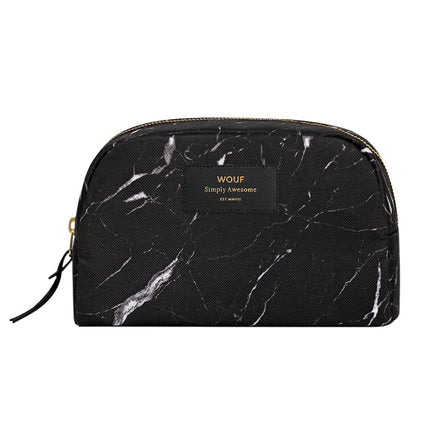 Wouf Big Beauty Cosmetic Bag, Black Marble