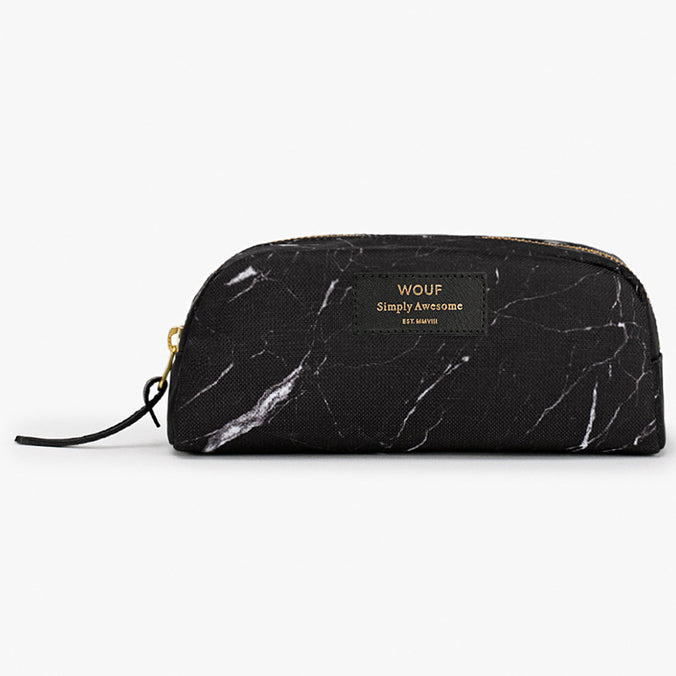 Wouf Small Beauty Cosmetic Bag, Black Marble