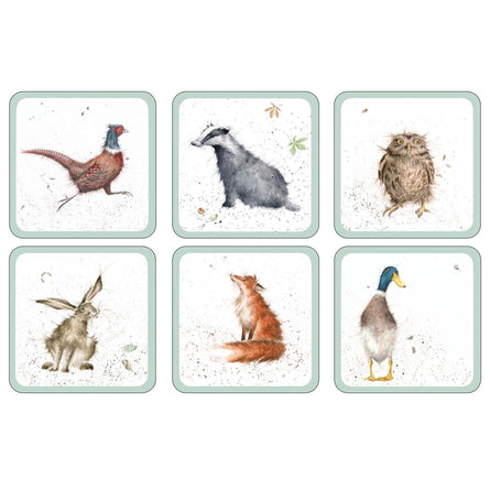 Wrendale Country Set Wildlife Coasters, Set of 6