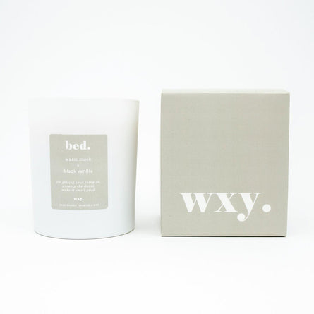 WXY bed. scented candle, Warm Musk & Black Vanilla