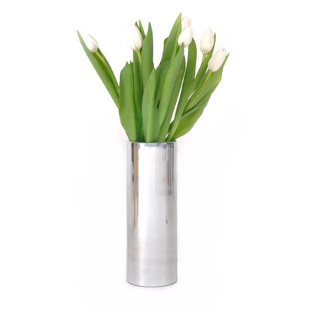 XL Boom Noella Metallic Vase, Shiny Nickel - Large H25.5xW9xD9cm
