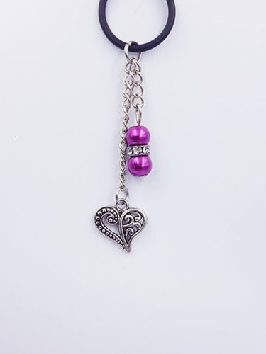 Silverpaw Creations  - Vape Charms - Antique Heart Charm - Pink Beads