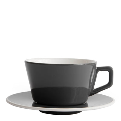 Porcelain Cup - Angled Small Latte Gray 8oz/24cl- Created Co - Espresso Gear