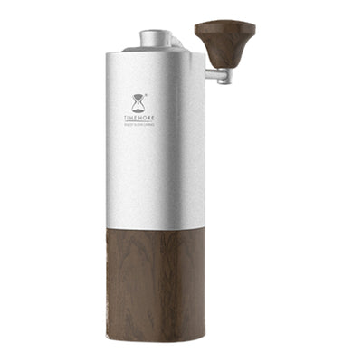 Timemore Chestnut Grinder - Silver with Wooden Base - Espresso Gear