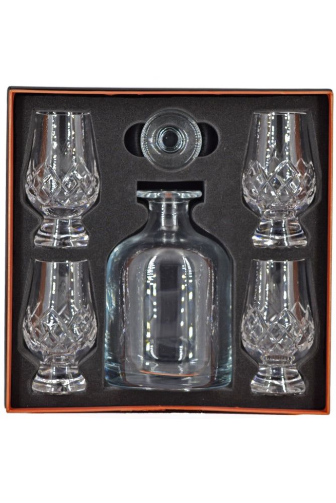 Glencairn, Presentation Box - Iona Decanter and 4 Glencairn Tartan Cut Glasses
