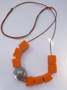 Polymer Clay Necklace  - Orange and Silver