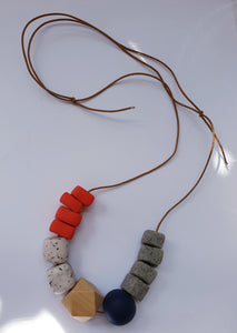Polymer Clay Necklace  - Red, Navy, Granite
