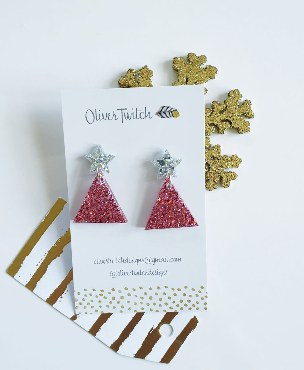 Small Christmas Trees - Ruby and Silver