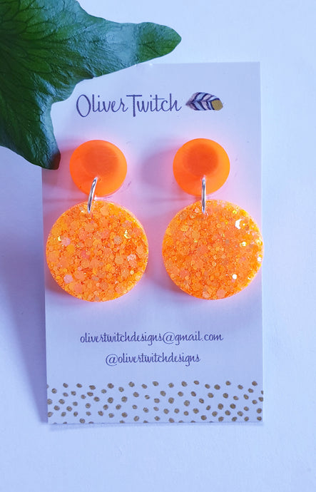 Colour Block Dangles - Neon Orange