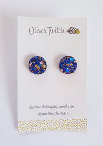 Midi Studs - Navy and blush