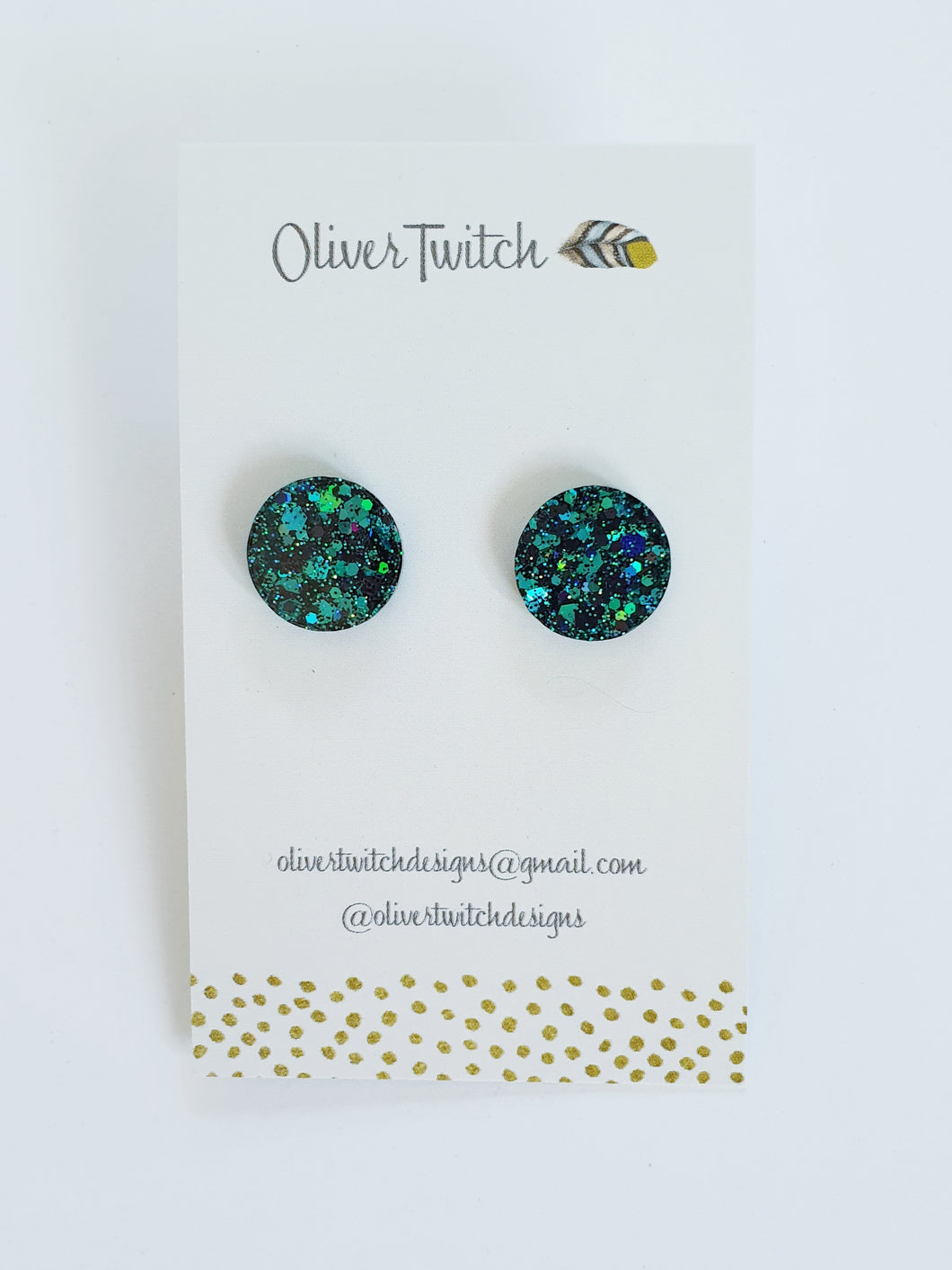 Midi Studs - Green and Black