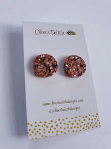 20mm Studs - Blush Pink and Black