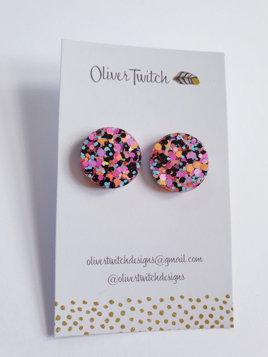 20mm Studs Pink and Black