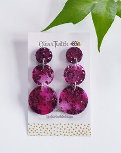 Tier Resin Dangles - Burnt Pink