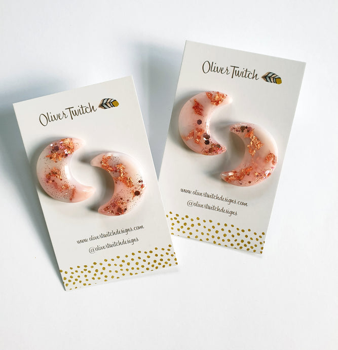 Crescent Moon  Studs - Blush and Copper