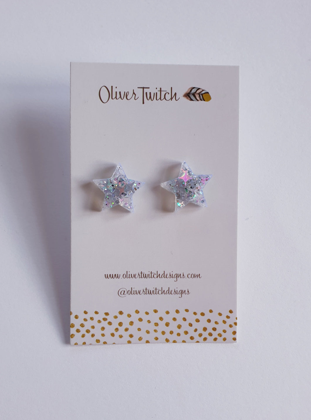 Small Star Studs - Holographic Silver