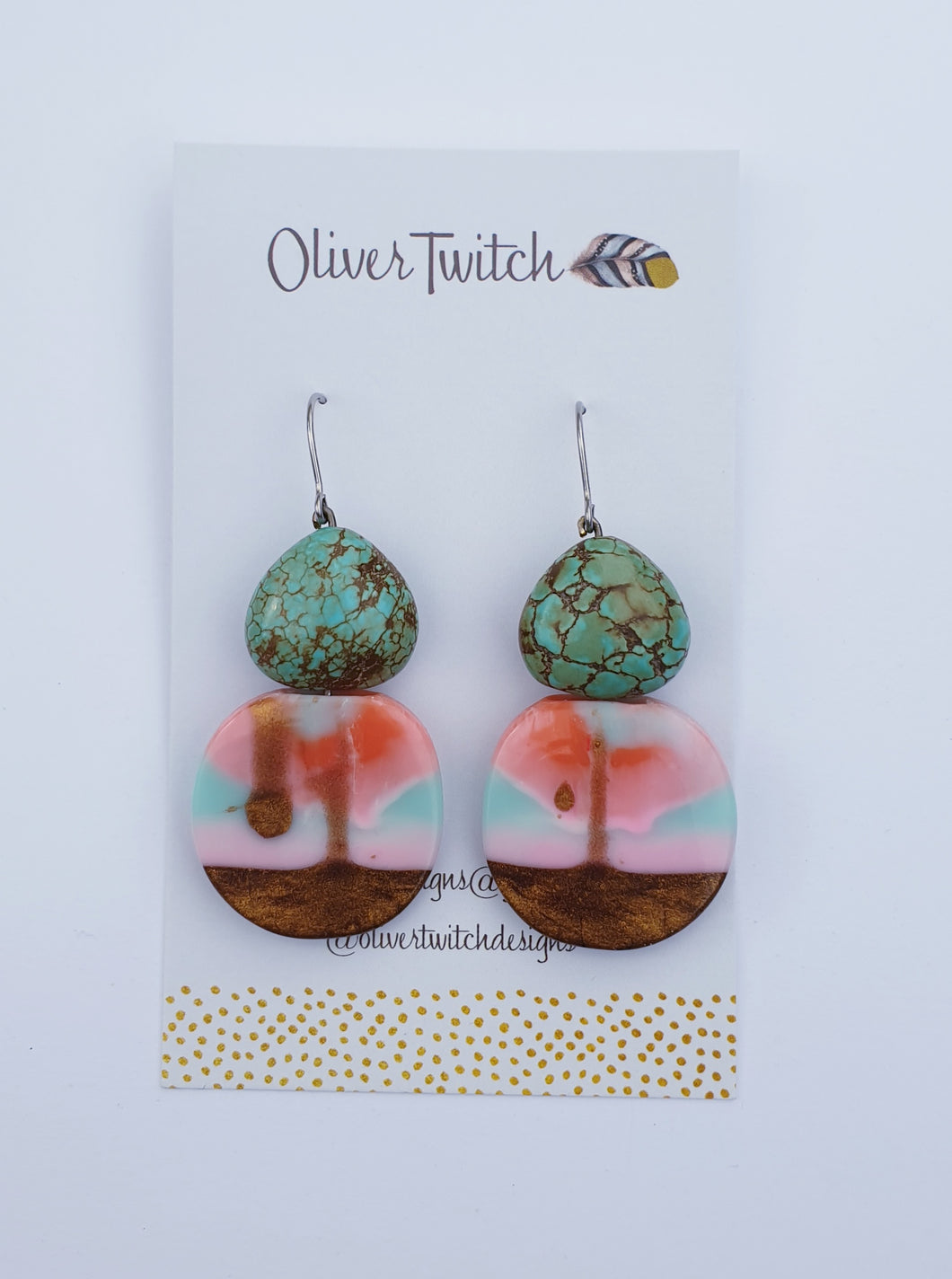 Coin drops with African Turquoise stone