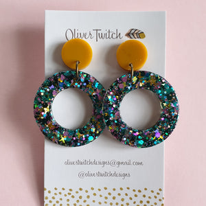 Orbit Studs - Mustard, pink and green