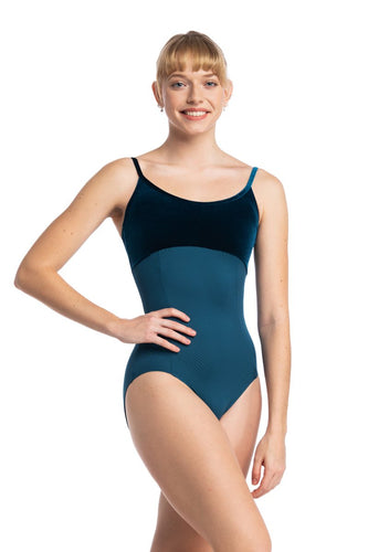 Spaghetti Strap Leotard with Velvet