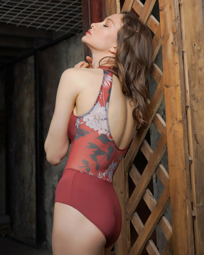 Elysa Cinnamon Flower Leotard