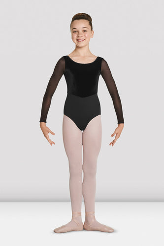 Velvet Bodice Long Sleeve Leotard