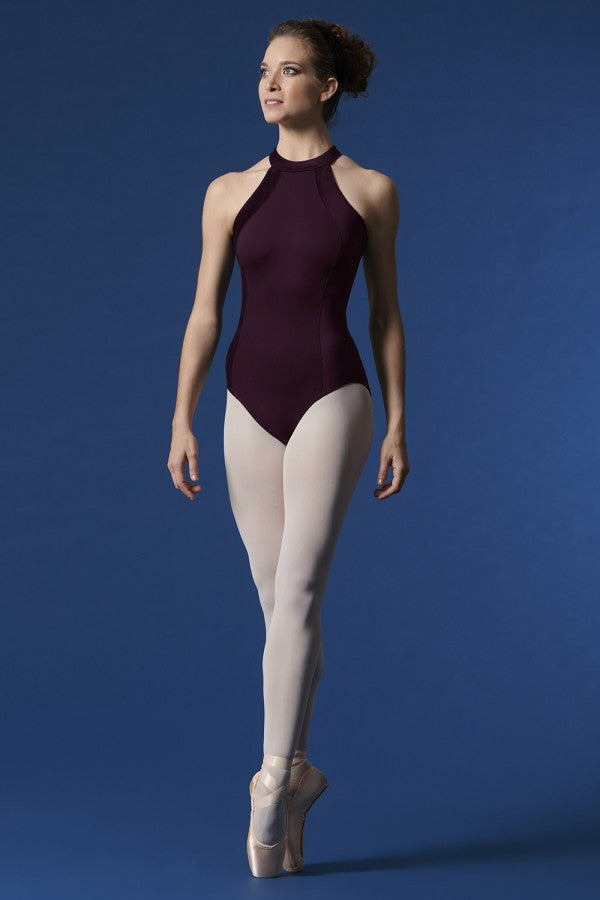 Velvet Panel Halter Leotard